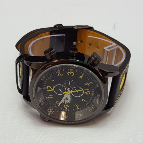 Crosshatch Men's Quartz Watch Black Dial Analogue Black PU Strap CRS09/D A01H