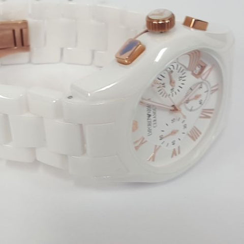 ded88aacd ... Stylish Gents White Ceramica Rose Gold Sports Watch by Emporio Armani  AR1416 ...