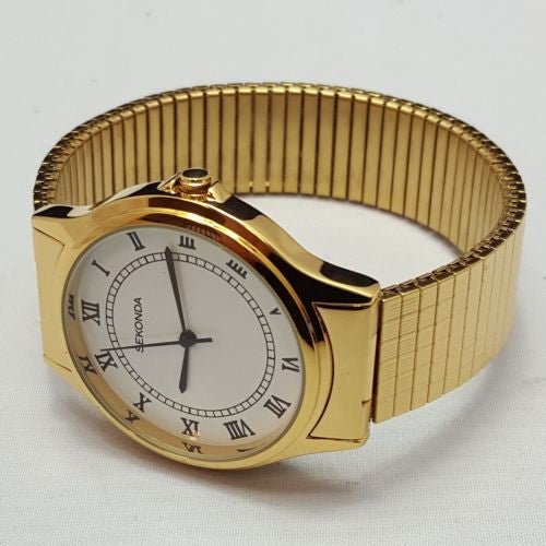 Sekonda Gents Gold Coloured Stainless Steel Expandable Wristwatch 3021B A01i