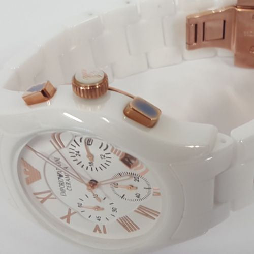 Stylish Gents White Ceramica Rose Gold Sports Watch by Emporio Armani AR1416
