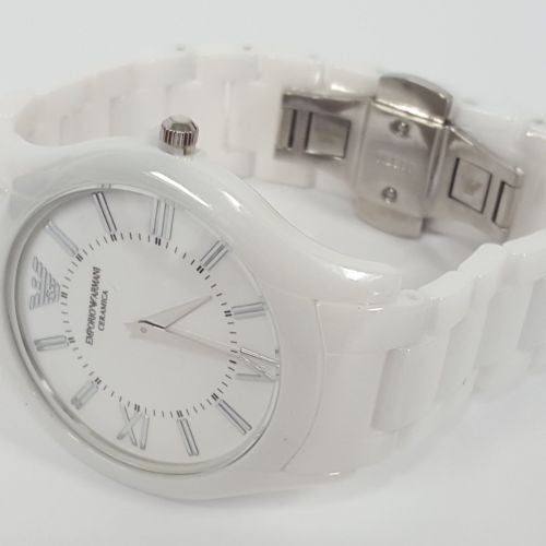 Sleek White Plated Ceramica Gents Watch by Emporio Armani AR1442