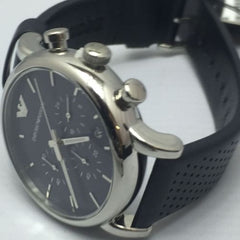 Emporio Armani Gents Luigi Watch AR1736 Black Leather Strap Stainless Steel