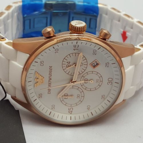 Emporio Armani Men's Watch AR5919 White Chronograph Rose Gold Colour Trim AR2