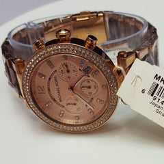 Ladies Michael Kors MK5538 Rose Gold And Tortoise Shell Chronograph Watch A01D
