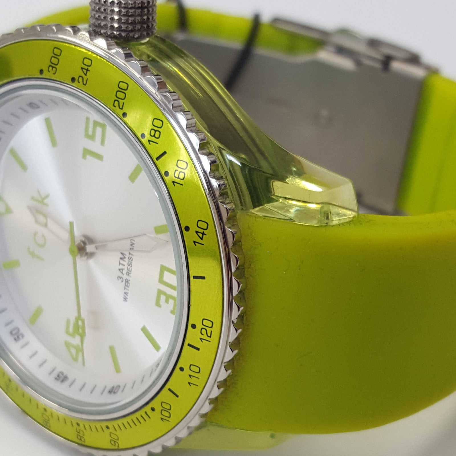 Ladies French Connection FCUK Neon Green Fashion Watch Silicone Strap FC1103NN
