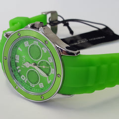 Mens French Connection FCUK Neon Green Fashion Watch Silicone Strap FC1102NN