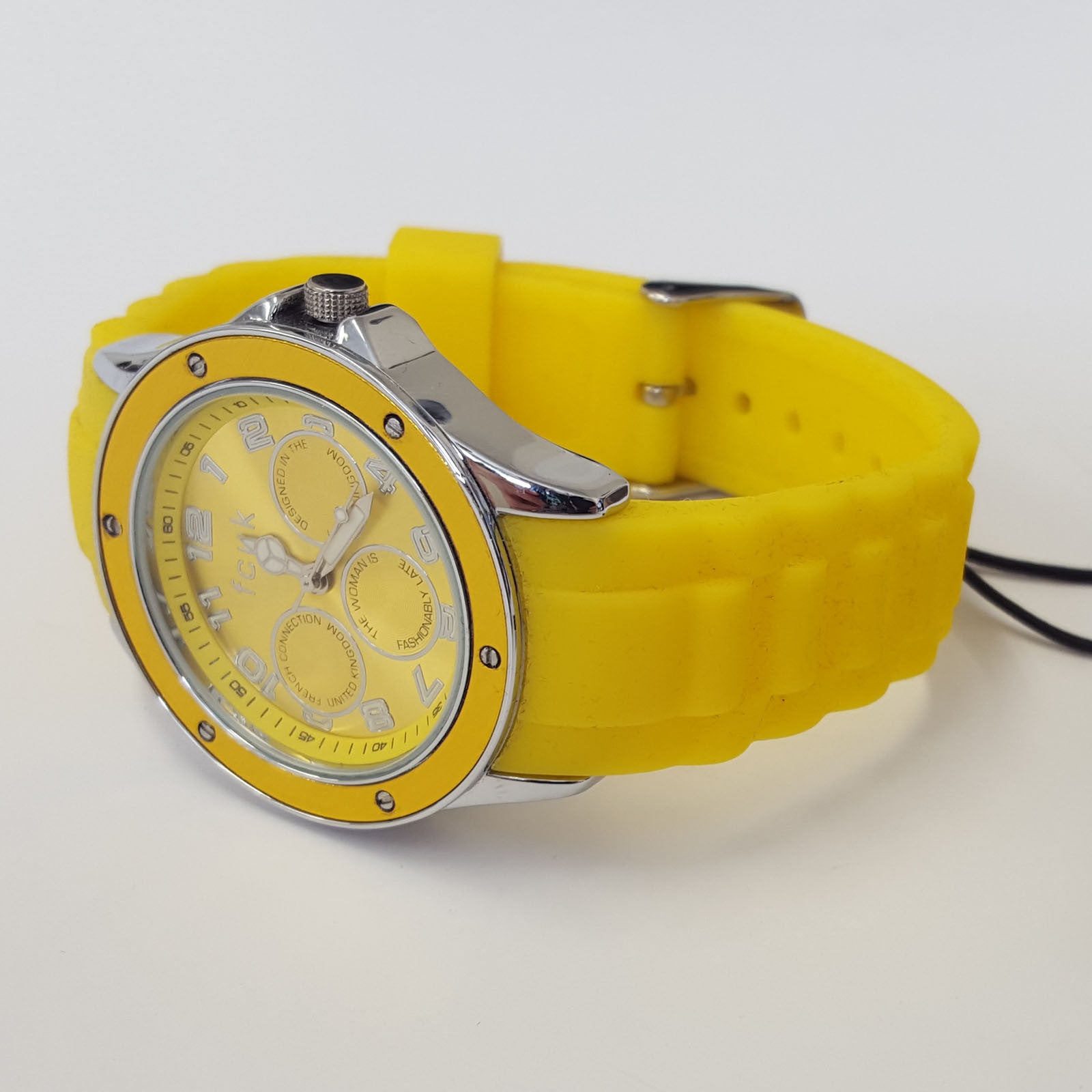 ladies trendy yellow silicone strap watch by french connection ladies trendy yellow silicone strap watch by french connection fcuk fc1102yy