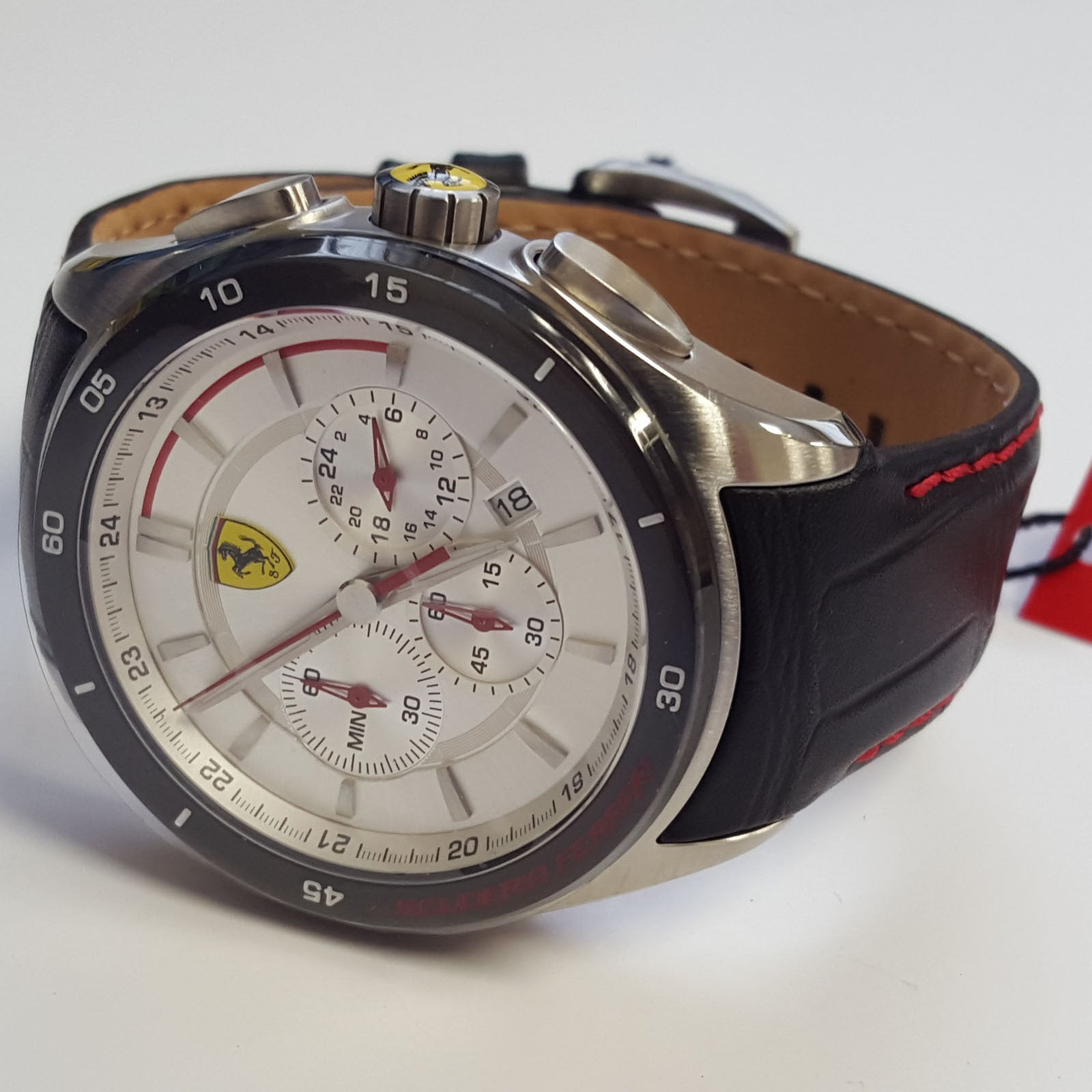 mens sporty gran premio chronograph white face leather watch by mens sporty gran premio chronograph white face leather watch by ferrari 830186