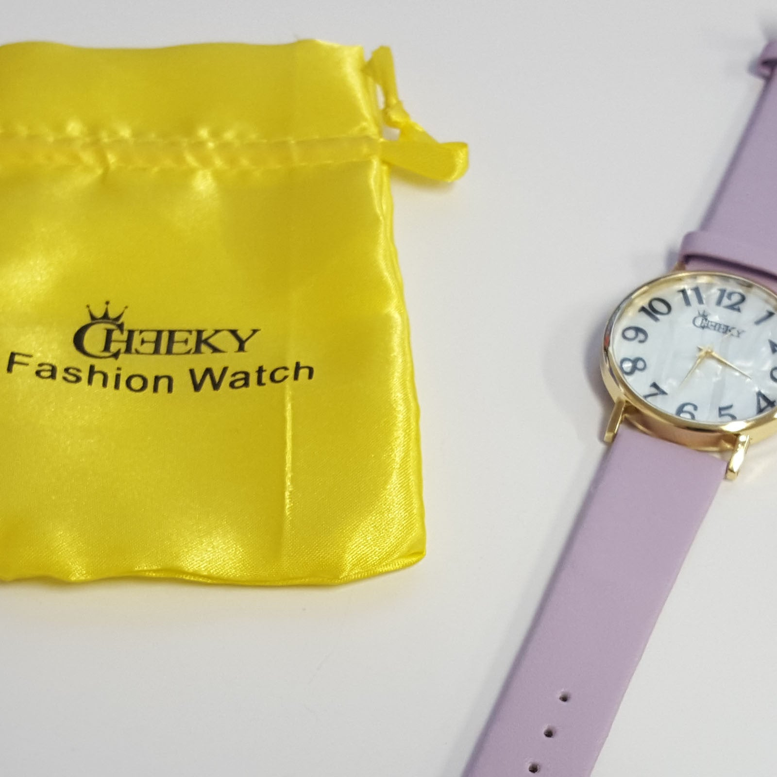 Ladies Lt Purple Lux Faux Leather Watch Marble Effect Dial by Cheeky HE08
