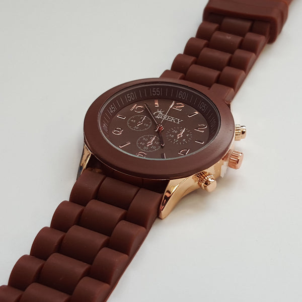 Stylish Mens  Brown Silicone w  Rose Gold Fashion Watch by Cheeky HE-1 –  Chronos Market Place a0bd81017dc3