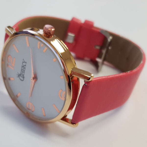 Cheeky Ladies Faux Leather Strap Pink Dial Analogue Watch HE009 Pink