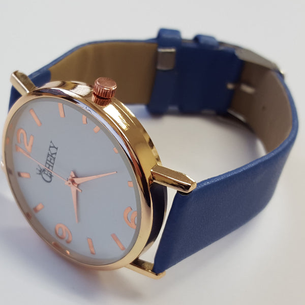 Cheeky Ladies Faux Leather Strap Blue Dial Analogue Watch HE009 Blue