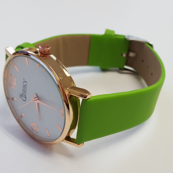 Cheeky Ladies Faux Leather Strap Green Dial Analogue Watch HE009 Green