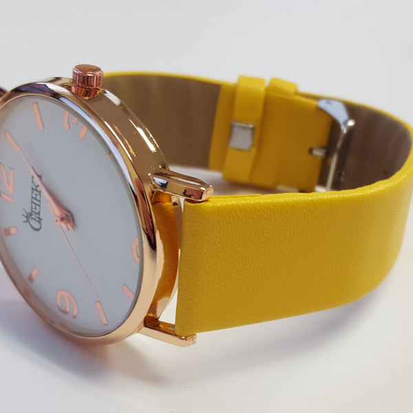 Cheeky Ladies Faux Leather Strap Yellow Dial Analogue Watch HE009 Yellow