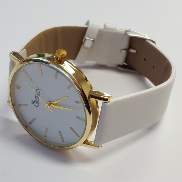Cheeky Ladies Faux White Leather Large Face Analogue Watch HE010 White