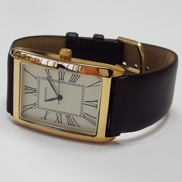 Sekonda Mens Gold Coloured Square Dial Roman Numeral Leather Fashion Watch 3027