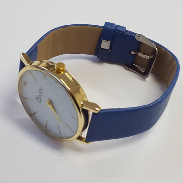 Cheeky Ladies Faux Blue Leather Large Face Analogue Watch HE010 Blue