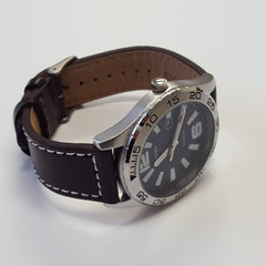 Sekonda Mens Blue Brown Leather Stainless Steel Analogue Sports Watch 3252