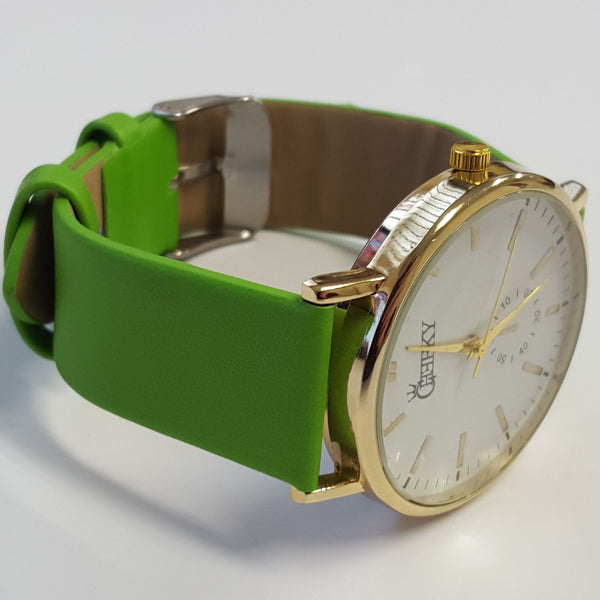Cheeky Ladies Faux Leather Strap White Dial Analogue Watch HE010 Green