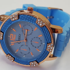 Cheeky Ladies Watch Light Blue Dial Analogue Blue Silicone Strap HE001 Light Blu