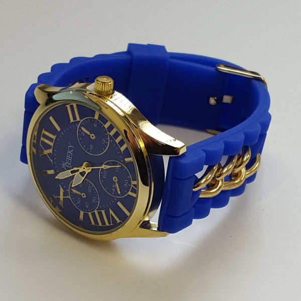 Cheeky Ladies Watch Gold Trim Dial Analogue Blue Silicone Chain HE005 Blue