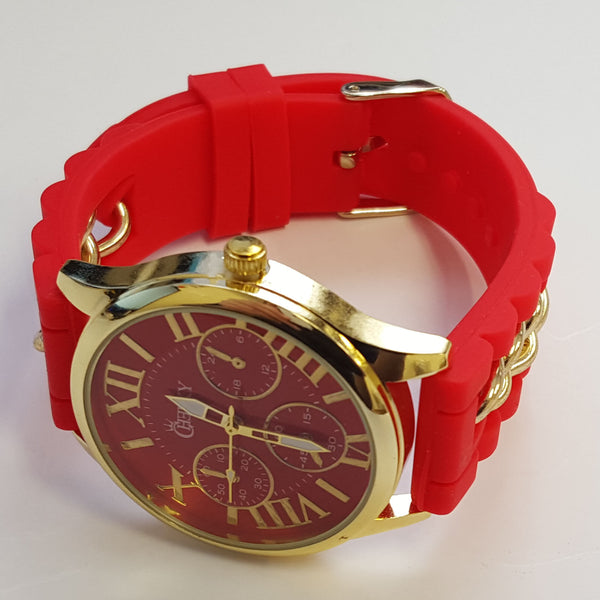 Cheeky Ladies Watch Gold Trim Dial Analogue Red Silicone Chain HE005 Red