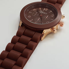 Stylish Mens' Brown Silicone w/ Rose Gold Fashion Watch by Cheeky HE-13 Brown