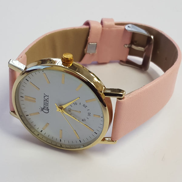 Cheeky Ladies Faux Leather Strap White Dial Analogue Watch HE010 Light Pink