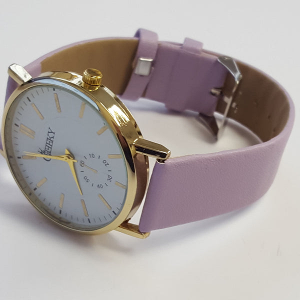 Cheeky Ladies Faux Leather Strap White Dial Analogue Watch HE011 Purple