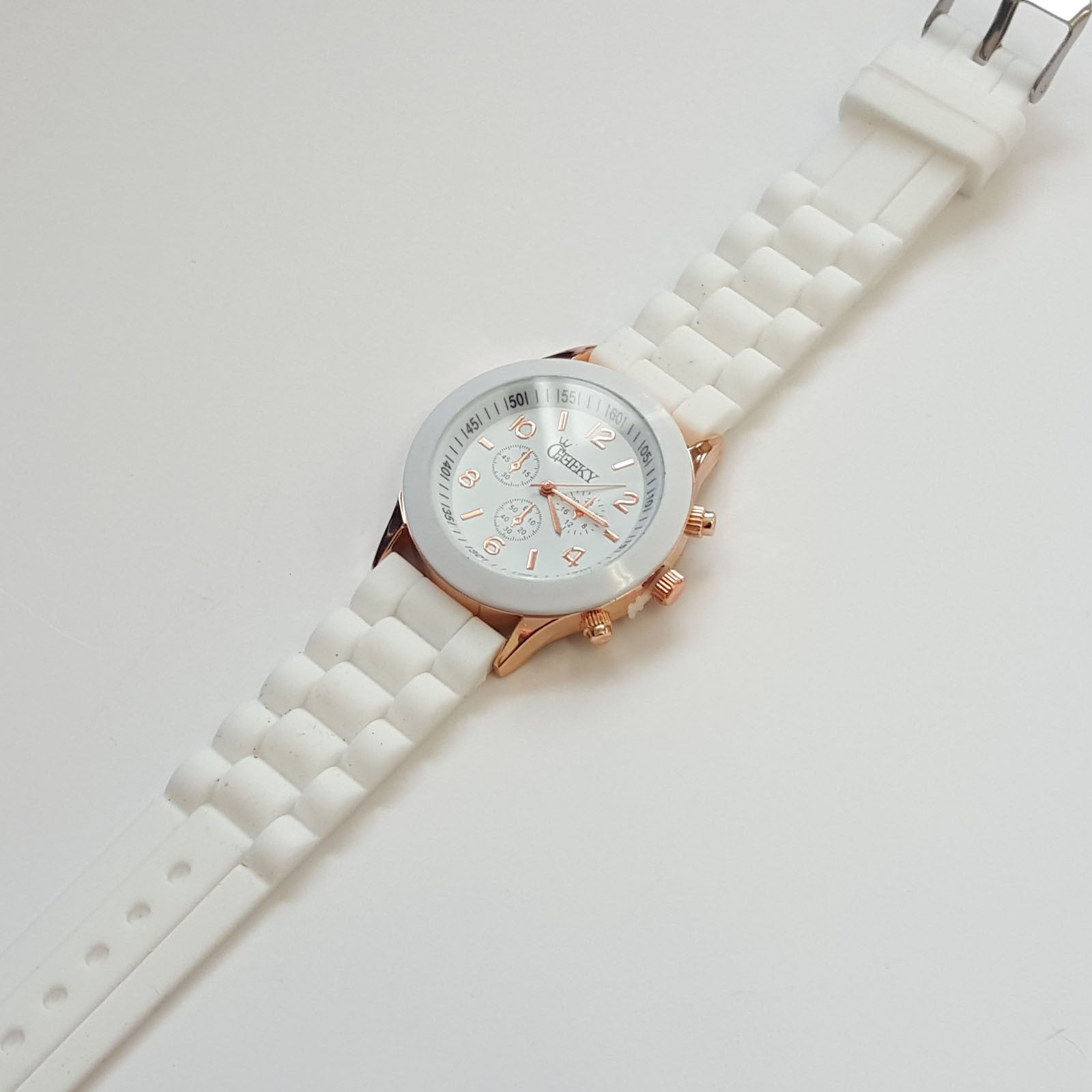 Stylish Ladies White Silicone w/ Rose Gold Fashion Watch by Cheeky HE-13 White