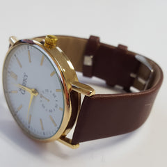 Cheeky Ladies Faux Leather Strap White Dial Analogue Watch HE010 Brown