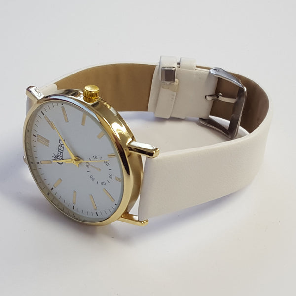 Cheeky Ladies Faux Leather Strap White Dial Analogue Watch HE010 White