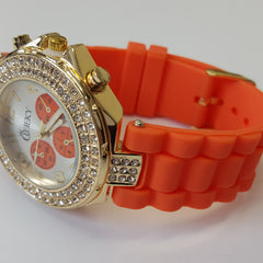 Cheeky Ladies Watch Gold Dial Analogue Orange Silicone Strap HE003 Orange Gold
