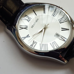 Mens Sekonda Black Leather White Dial Stainless Steel Case Luxury Watch 3456