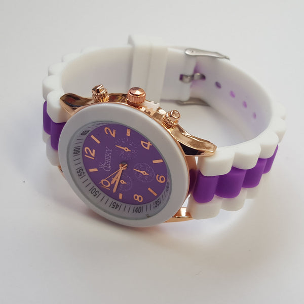 Cheeky Ladies Two Tone Purple Silicone Gold Trim Analogue Watch HE014 Purple