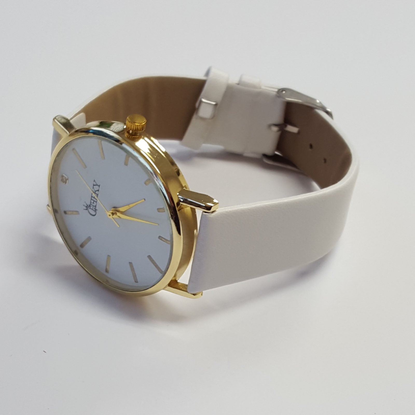 cheeky ladies faux white leather large face analogue watch he010 cheeky ladies faux white leather large face analogue watch he010 white