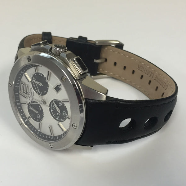 Mens R&CO Swiss Made Chronograph Black Leather Watch by Rotary RGS00001/42/02