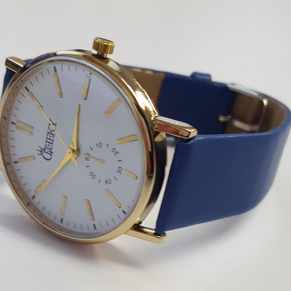 Cheeky Ladies Faux Leather Strap White Dial Analogue Watch HE010 Blue