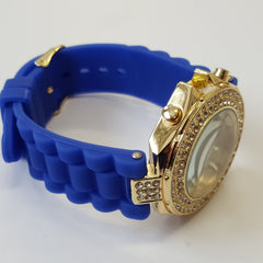 Cheeky Ladies Watch Gold Dial Analogue Blue Silicone Strap HE003 Dark Blue Gold