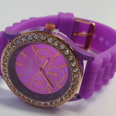 Cheeky Ladies Watch Violet Gold Dial Analogue Violet Silicone Strap HE002 Violet