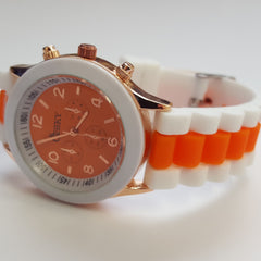 Cheeky Ladies Two Tone Orange Silicone Gold Trim Analogue Watch HE014 Orange