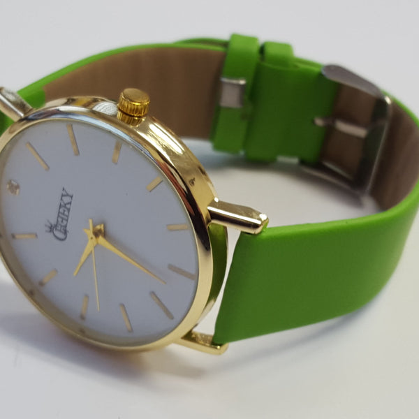 Cheeky Ladies Faux Green Leather Large Face Analogue Watch HE010 Green