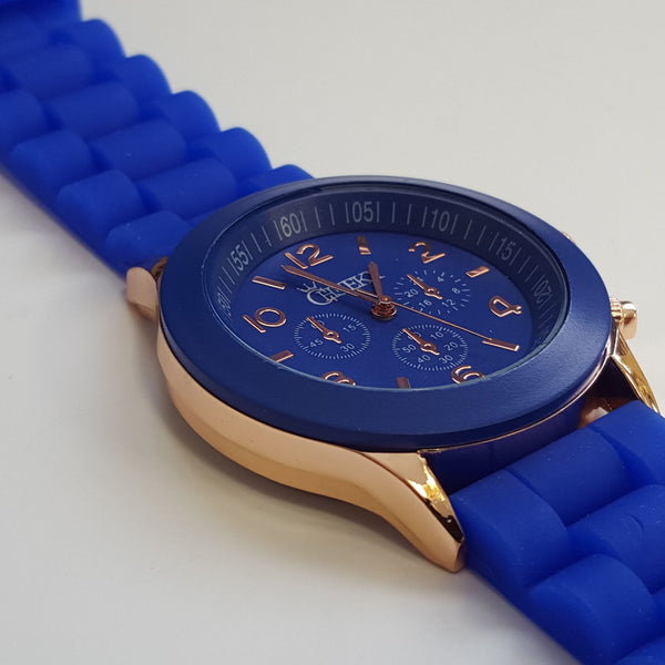 Stylish Mens' Blue Silicone w/ Rose Gold Fashion Watch by Cheeky HE-13 Blue