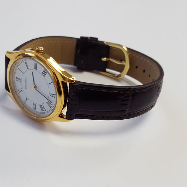 Mens SEKONDA Gold Coloured Case Luxury Leather Strap Watch Boxed NEW 3625