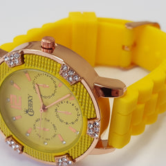 Cheeky Ladies Watch Yellow Dial Analogue Yellow Silicone Strap HE001 Yellow