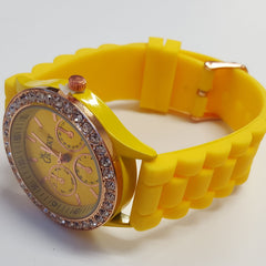Cheeky Ladies Watch Yellow Gold Dial Analogue Silicone Strap HE002 Yellow