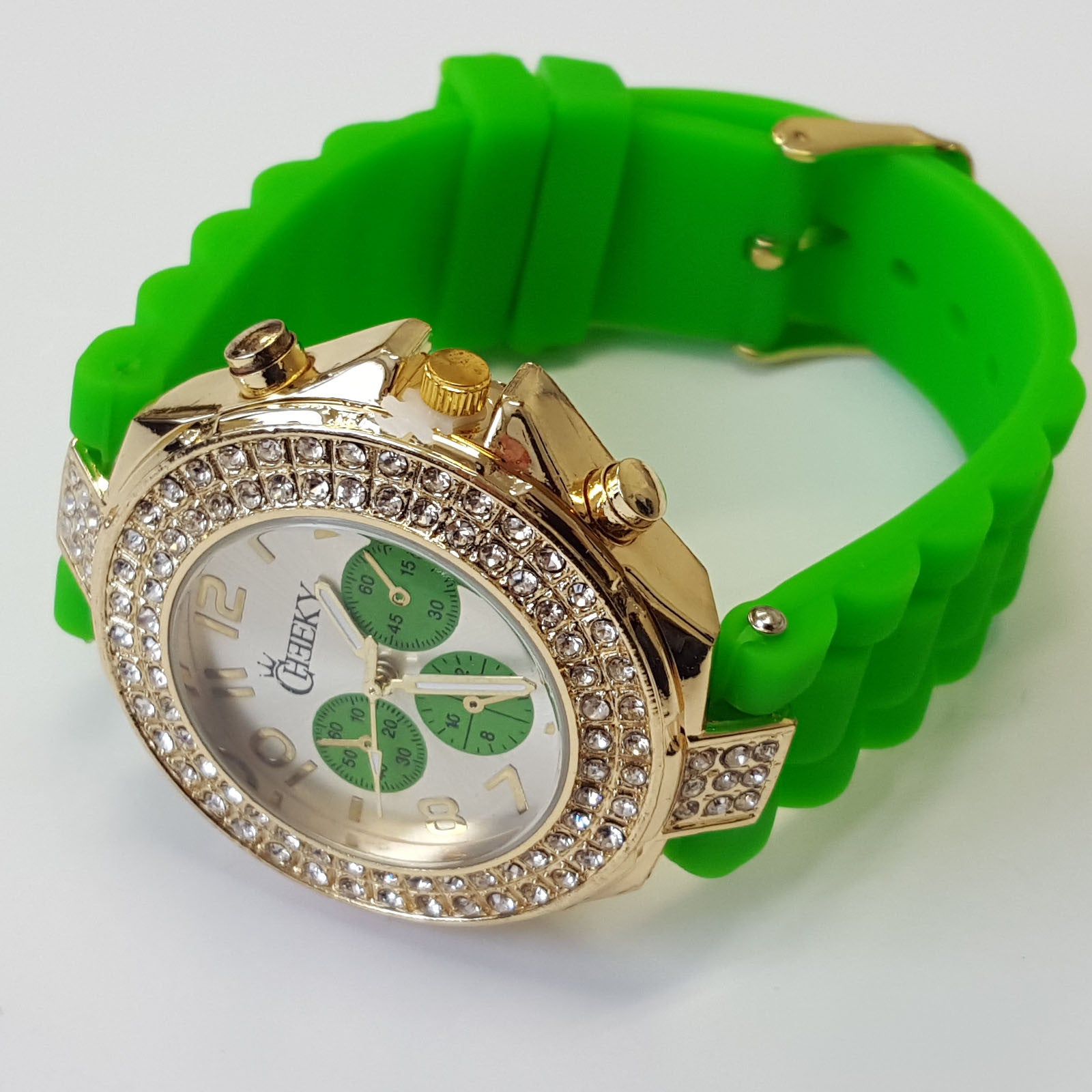 Cheeky Ladies Watch Gold Dial Analogue Green Silicone Strap HE003 Green Gold