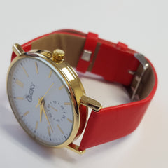Cheeky Ladies Faux Leather Strap White Dial Analogue Watch HE010 Red
