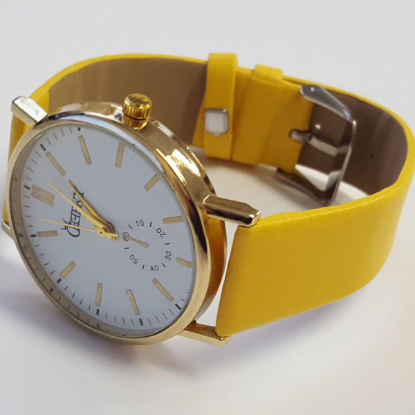 Cheeky Ladies Faux Leather Strap White Dial Analogue Watch HE010 Yellow