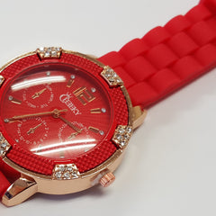 Cheeky Ladies Watch Red Dial Analogue Red Silicone Strap HE001 Red